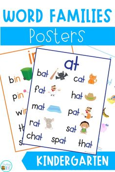 These 19 CVC Word Family Posters are perfect to introduce new words to your Kindergarten classroom. Place these CVS literacy posters on your classroom walls for students to refer to while they are learning OR add them to a binder for students to look through and practice reading. Perfect for your classroom setup, grab these posters for back to school! #kindergarten #wordfamily #teachingresources