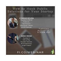 """Duty first! Before a #spritz and a chat w/ my talented friend #lucillatubaroillustrations I got enrolled into the most interesting #webinar of the week. """"How to Hack #PublicRelations For Your #Startup"""" sponsored by @founding - #FounderInstitute w/ speakers such as #ConradEgusa (#Founder & #CEO of Publicize @TechCrunch Contributor Mentor at @500Startups) and #AdeoRessi: Founder & CEO of the Founder Institute 9X entrepreneur and #AngelInvestor). Soon on my #branded.me profile…"""