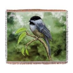 Chickadee bird Woven Blanket on CafePress.com