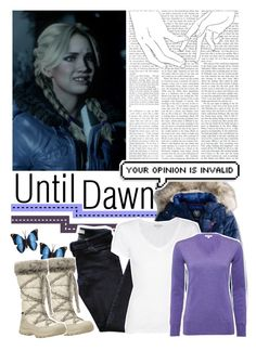 """""""Until Dawn;Jessica (character inspiration)"""" by kwiatekmarek ❤ liked on Polyvore featuring American Eagle Outfitters, Vanessa Bruno Athé, James Perse, Barbour, Timberland, Inspired, inspiration, videogame and untildawn"""
