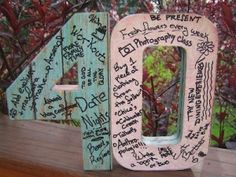 Milemarker 40 Birthday Ideas} ~ These milemarkers are a great keepsake to commemorate a milestone birthday. Have your guests write some fun anecdotes or birthday wishes on them. Simply decorate cardboard numbers with mod podge and scrapbook paper. But 50 Adult Birthday Party, 40th Birthday Parties, 70th Birthday, Birthday Wishes, 30th Birthday For Him, Fiftieth Birthday, Office Birthday, Outdoor Birthday, Birthday Sayings
