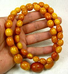ANTIQUE Butterscotch Egg Yolk Graduated oval beads Genuine BALTIC AMBER Necklace