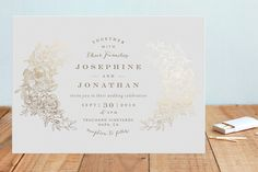 """Engraved Flowers"" - Floral & Botanical, Hand Drawn Foil-pressed Wedding Invitations in Gold by Phrosne Ras. Marriage Invitation Wordings, Wedding Day Invitations, Chinese Wedding Invitation, Wedding Stationary, Wedding Paper, Wedding Cards, Botanical Wedding, Invitation Design, Invitation Ideas"