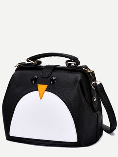See this and similar WithChic shoulder bags - Black PU Penguin Design Contrast Shoulder Bag Type: Shoulder Style: Cute Material: PU Color: Black Strap Type: Con.
