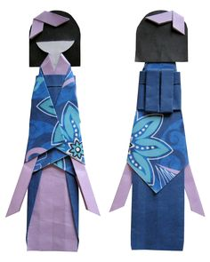 handcraft Japanese paper doll ... ningyo ... front and back .. origami ...