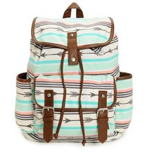 "Arrow Print Rucksack Backpack. NWT. Light coral and mint canvas exterior with soft brown synthetic leather trim. Lined with taffeta with cinch top and magnetic snap closures. Shoulder straps are lightly padded. Top has handle loop. 14""h x 15""w x 6""d. 60% cotton, 40% polyester. Inside has zippered pocket for your phone and keys. Bags Backpacks"