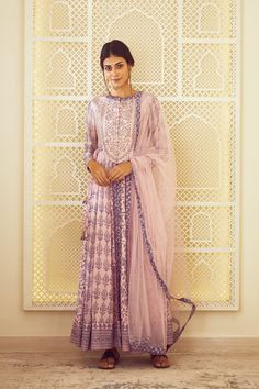 Shyam Narayan Prasad | Purple Anarkali Set | INDIASPOPUP.COM Anarkali Gown, Indian Ethnic Wear, Pink Fabric, Indian Outfits, Indian Fashion, Fashion Forward, Women Wear, Sari, Couture