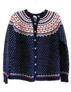 Vtg Hand Knit Nowray Norwegian Fairisle Cardigan Sweater Navy Blue Red White L | eBay, Handknit
