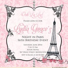 """""""Ooh La La!"""" It's a beautiful, sophisticated event that starts with your custom night in Paris 16th birthday invitation design. Soft pink glitter-like swirls surround a lovely European frame shape, studded with diamond & floral graphics. Your personalized event text is placed beside the Eiffel Tower, and can be entirely reworded to suit any style of event and any age of birthday celebrant."""