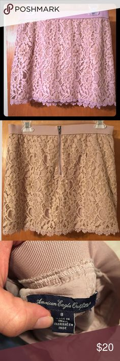 Blush lace skirt Adorable skirt. Color is a soft pink/blush color. No flaws. Worn once. I would keep it, but it's too small and taking up space in my closet. American Eagle Outfitters Skirts Mini