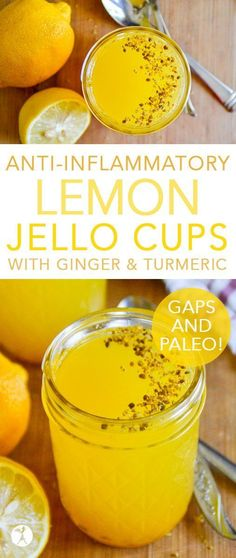 Treat yourself to a fun and delicious snack with these easy lemon jello cups! With turmeric and ginger, and sweetened with honey, they're full of anti-inflammatory benefits! #lemon #jello #ginger #turmeric #antiinflammatory #gapsdiet #paleo #primal #glutenfree #dairyfree