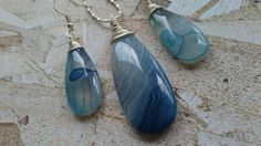 Blue Striped Agate Sterling Silver Jewelry Set by StephaniandCo