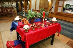 Korean traditional wedding - the ceremonial table setup