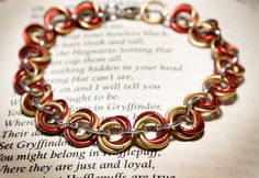 Hogwarts Collection  Mobius Chainmaille Bracelet  Gryffindor by HowlOwl. Harry Potter