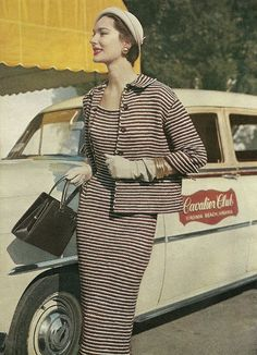1955 striped suit vintage fashions style color photo print ad model magazine 50s dress jacket gloves hat purse car black pink tan