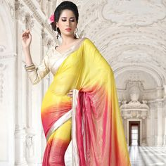 Shaded Yellow and Fuchsia Faux Georgette Shimmer Saree with Blouse