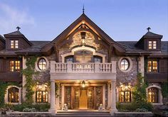 #1 Tranquility - Lake Tahoe Details on roof, window pockets, two story window peaks for the Grand saloon. Stone