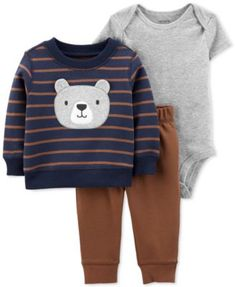 Carter's Striped Pant Set Baby Boys – Baby For look here Baby Outfits, Toddler Outfits, Kids Outfits, Fleece Cardigan, Grey Bodysuit, Bodysuit Lingerie, Crochet Bebe, Baby Necessities, Carters Baby Boys