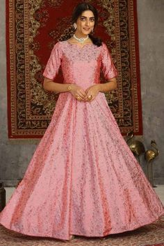 Featuring beautiful pink taffeta silk anarkali suit which will give you absolute perfection. This round neck and elbow-sleeved party wear suit decorated using foil print work. Accompanied by a matching lycra/santoon churidar in pink color with pink net dupatta. Churidar and dupatta is plain. #anarkalisuit #usa #Indianwear #Indiandresses #andaazfashion Churidar, Anarkali, Salwar Kameez, Indian Ladies Dress, Indian Gowns, Party Wear Gowns Online, Party Gowns, Ethnic Gown, Indian Ethnic Wear