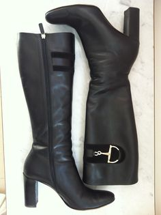 Gucci Black Leather Heeled Boots Size 40.5 via The Queen Bee. Click on the image to see more!