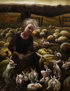 Rabbits, pumpkins, and a girl in black (by Andrea Kowch)