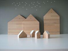 Abstract house wooden chopping board  natural beech door iciri, £20.00