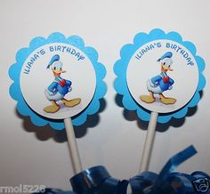 12 Personalized DONALD DUCK  Cupcake Party Toppers Picks / Food Picks