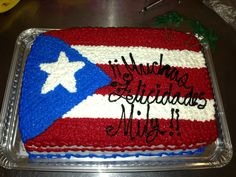 Puerto rico flag cake ;)!! Flag Cake, Lechon, Puerto Rican Recipes, Puerto Ricans, Pork Roast, Cake Decorating, Deserts, Cake Ideas, Pride