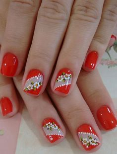 Christmas Manicure, Christmas Nail Art, Red Nails, Hair And Nails, Diy Nails Stickers, Valentine Nail Art, Manicure E Pedicure, Halloween Nail Art, Nail Decorations