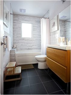 Gray tile bathroom tub