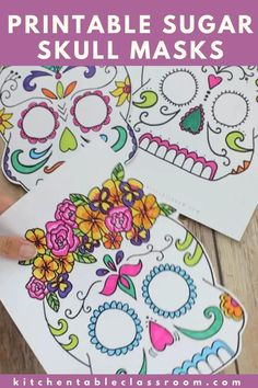 Five free sugar skull masks to print, color, and wear as you celebrate the Day of the Dead.