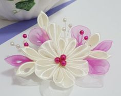 Items similar to Pink and Gray Kanzashi Flower Hair Clip on Etsy