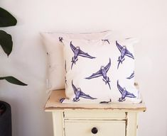 Flying bird pattern cushion pillow – COVER ONLY – Handmade Country Rustic – Blue & White Cotton (fit – neck pillow cartoon Cushion Pillow, Neck Pillow, Pillows, Pillow Drawing, Handmade Cushions, Rustic Blue, Blue Bodies, Bird Patterns, Cottage Chic