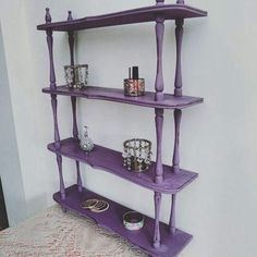 """Give your displays a new lease of life with Vintro Chalk Paint®.   This shelving is painted in """"Wild Heather""""  by ShellesChic.  #Vintrolicious See www.vintro.co.uk for further information on stockists and sales."""