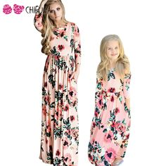 chifuna Mother Daughter Bohemian Maxi Dress Family Matching Outfits 2018  Fashion Mommy and Me Floral Long Dress Family Fitted - Muslim Shops - High  Quality ... 0e321617eee9