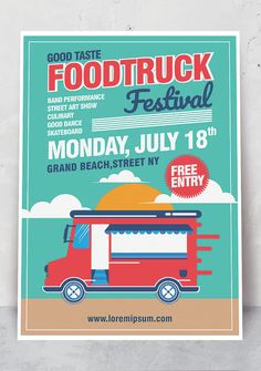 Food Truck Poster Template AI, EPS