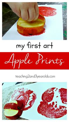 Apple Prints - Carve a handle right into the apple for fingers to hold - Teaching 2 and 3 year olds