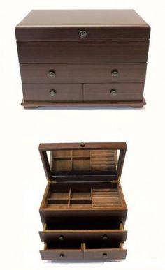 Ékszertartó doboz, ékszerdoboz 3 fiókkal és gyűrűtartóval