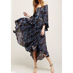 GM-Fashion Multicolor Floral Off Shoulder Boat Neck Trumpet sleeve Bohemian Chiffon Midi Dress