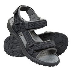 MENS LEATHER TOUCH STRAP BLACK HIKING TRAIL SUMMER CASUAL SANDAL SHOES 7-12