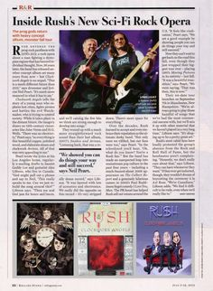 Rolling Stone article about Rush Clockwork Angels.  2012