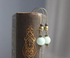 Jade // beaded dangle earrings bronze mint by BelleAccessoires, €12.00