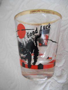 Vintage Halloween Black Cats GOOD LUCK Shot Glass Rumpus Collection  #RUMPUSCOLLECTION