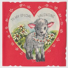 Vintage Greeting Card Valentine's Day Lamb Sheep UNUSED Daisies j505