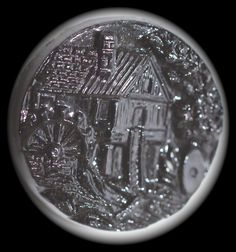 Scarce Swirl Back Black Glass Pictorial Button  Small by KPHoppe