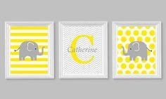 Gray and Yellow Elephant Nursery Decor by SweetPeaNurseryArt