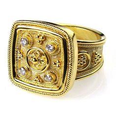 Damaskos 4 Diamond Cushion Face Ring, 18k Gold and 4 Diamonds. This and more handmade Greek jewelry at Athena's Treasures: www.athenas-treasures.com