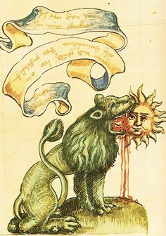Green lion devouring the sun, from the Rosarium Philosophorum (1550), an important alchemical treatise