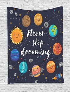 AmazonSmile: Universe Tapestry Quotes Decor by Ambesonne, Cute Outer Space Planets and Star Cluster Solar System Moon and Comets Sun Inspirational Art, Bedroom Living Room Dorm Wall Hanging, 40 x 60 Inch, Multi: Home & Kitchen