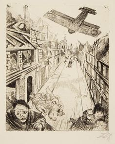 """Otto Dix. Bombs Are Dropped on Lens. 1924. Etching on heavy off-white wove paper. Signed, lower right, and titled, lower left corner. 11 3/4"""" x 9 5/8"""" (29.8 x 24.4 cm). From the edition of 70 impressions. Plate 33 from the cycle The War (Der Krieg). Karsch 102/b. Private Collection, Courtesy Galerie St. Etienne, NY."""